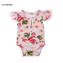 Newest Fancy Newborn Baby Girl Bodysuit Floral print Summer Clothes Jumpsuit Out