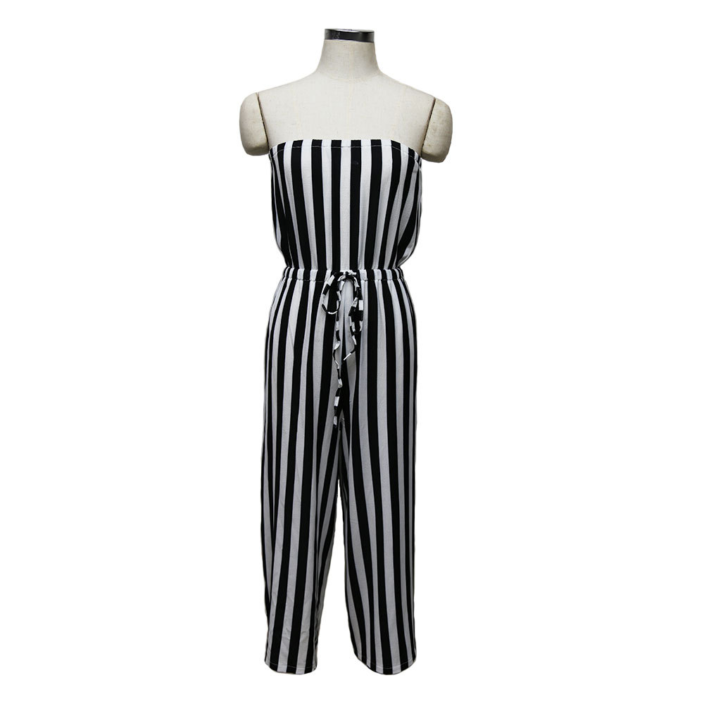1440c8543cf Sexy Women Strapless Backless Summer Jumpsuit Off Shoulder Elastic Waist  Black White Striped Casual Beach Calf Boot Cut Pants-in Jumpsuits from  Women s ...