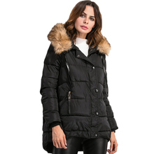 Women s Hooded Cotton Clothing Down Jacket Big Wool Collar Short Coat 2016 Winter Style Women