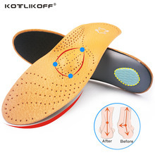 KOTLIKOFF High quality Leather orthotic insole for Flat Feet Arch Support orthopedic shoes sole Insoles for men and women