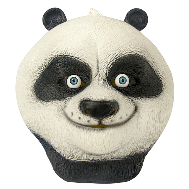 Cartoon Movie Kung Fu Panda Mask Latex Unisex Full Head Panda Po Cosplay Animal Party Halloween Props