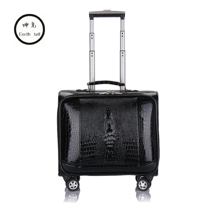 KUNDUI 16 20 INCH PU Leather Business Trolley Case Men's Suitcase Bags Travel Luggage Rolling Crocodile pattern Bag koffers bag vintage suitcase 20 26 pu leather travel suitcase scratch resistant rolling luggage bags suitcase with tsa lock