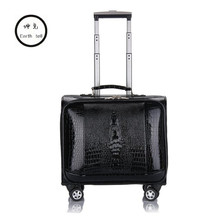 KUNDUI 16 20 INCH PU Leather Business Trolley Case Men's Suitcase Bags Travel Luggage Rolling Crocodile pattern Bag koffers bag
