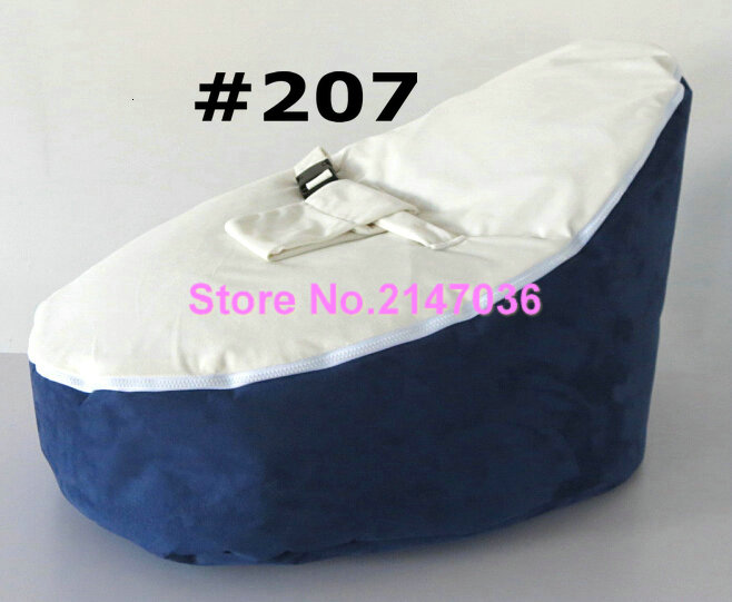 Navy blue with white seat Strap Baby Seat Baby Bean Bag Chair Beanbag Cover Soft Snuggle Bean Bed baby bean bag chair with 2pcs black up cover baby seat cover baby bean bag cover children blue bean bag chair free shipping