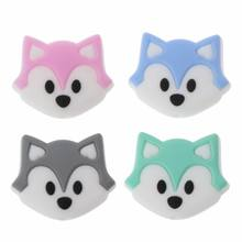Fox Baby Teething Beads Cartoon Silicone Beads For Necklaces BPA Free Teether Toy Accessories Nursing DIY(China)