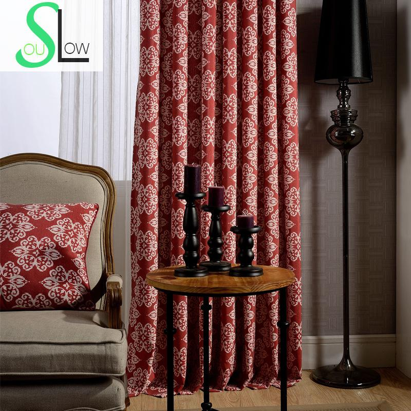 Slow Soul Blue Red Modern Minimalist Curtain Fabric Floral Curtains For Living Room Kitchen
