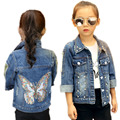 kids jackets for girls 2017 new baby girl clothes autumnsequined butterfly girl denim jackets rivet and pearls kids outerwear