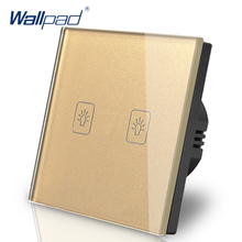 цена на Eu 2 Gang 1 Way Switch European Standard 86 Wallpad Gold Crystal Glass LED Touch Wall Switch Panel 2 Gang EU Free Shipping