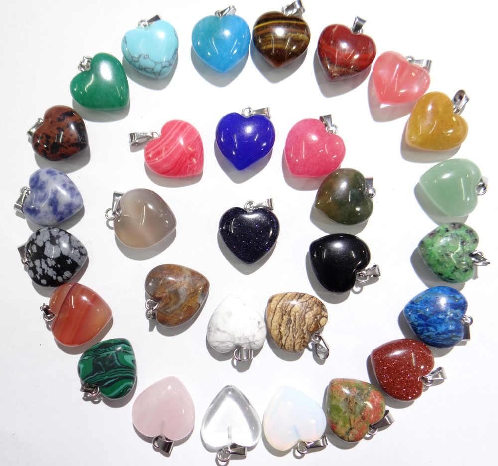 天然石トルコ石水晶タイガーアイオパールラピスハートペンダント diy のジュエリーメイキングのためネックレス Accessories24PCS A2