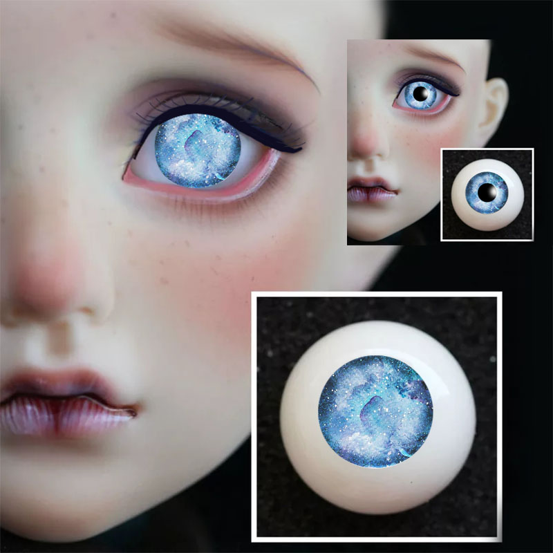 New 1 Pair DIY Acrylic BJD Eyes 8mm 10mm 12mm 14mm 16mm 18mm 20mm Blue Sky Cloud Color Without Pupiles  Pressure Sd Msd BJD Eyes