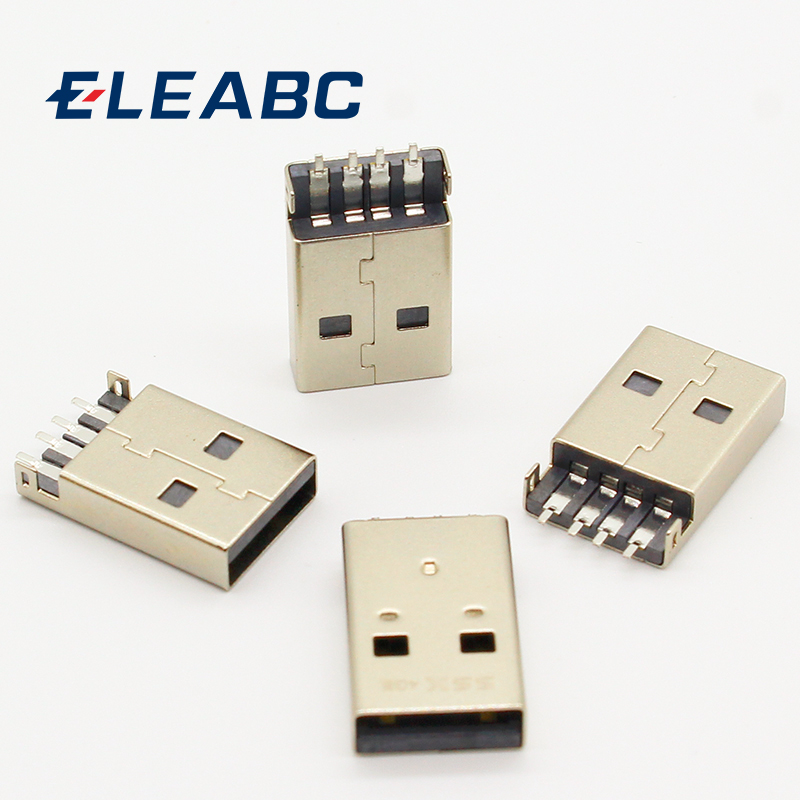 10pcs/lot USB 2.0 4Pin A Type Male Plug SMT Connector Black G49 for Data Transmission Charging