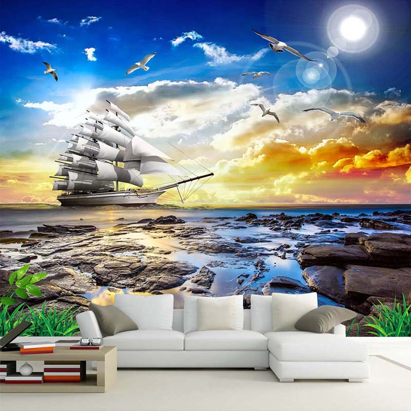 Custom Photo Wall Paper 3D Sea View Seagull Sailboat Sunrise Landscape Painting Living Room Sofa Bedroom Wall Mural De Parede 3D