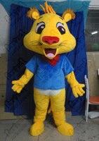 high quality EVA head with fan and helmet yellow leopard mascot costumes blue T shirt cartoon cheetah costumes