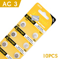 10Pcs/1card ag3 Cell Coin Battery 392 192 SR41 LR41 1.5V Environmental Protection Size 7.9*3.6mm For /Electronic Games