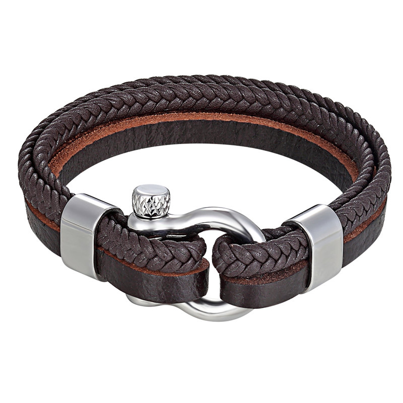 High Quality Stainless Steel Shackle Buckle Leather Survival Bracelets Bangle Men Surf Nautical Sailor Surfer Wristband Jewelry