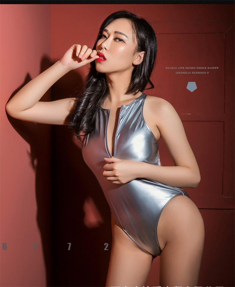 Zipper Open Front High Elastic One-piece Bodysuit Hollow Out Backless Patent Leather   Jumpsuit   High Cut Thong Shiny PU Bodysuit