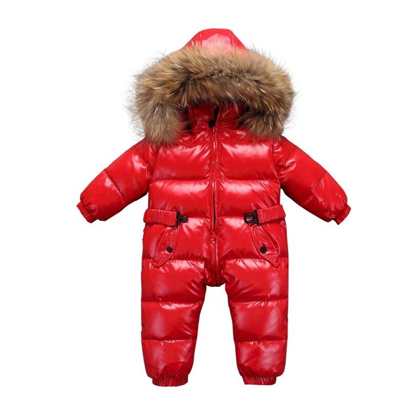 Nouveau-né bébé snowsuit collier naturel hiver chaud vêtements garçon doudoune manteau hiver vestes filles bambin garçons hiver manteau