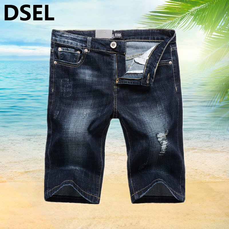 Casual Stretch Dark Blue Ripped Shorts Knee Length Jeans Men Cotton Dsel Brand Clothing Men`s Beach Jeans Shorts Elastic B1003 2016 summer men s casual men s clothing shorts travel men s beach shorts surf board beach print quick dry boardshorts