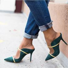 Newest Green Suede Leather Wedding Shoes Bride Gold Strap Ladies Heels Pumps Women Pointed toe Cut-out Fashion