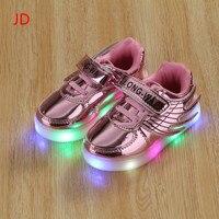 Yeni Kız Aydınlık LED Işık Ayakkabı Melek Kanatları Bebek Erkek Rahat Led Ayakkabı Çocuk Sneakers Boyut 21-36
