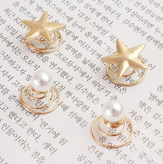 4 Pcs Set Star Spiral Hair Clips For Girls Golden Pearls Hairpins Women Vintage Barrette Korean Fashion Haar Accessoires in Hair Jewelry from Jewelry Accessories