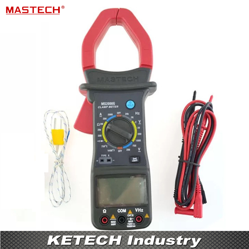 Digital Clamp Meter Current AC DC Voltage Resistance Temperature Tester Multimeter Multimetro MASTECH MS2000G mastech m266f digital ac clamp meter ac current resistance tester