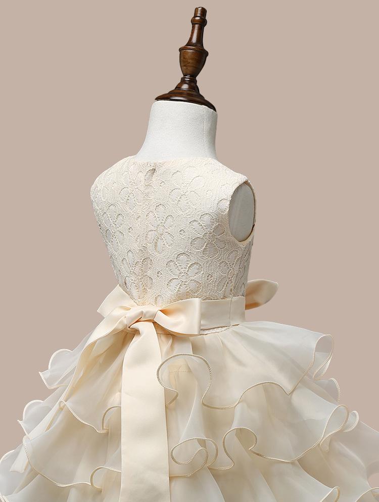 0-7 Years Mutlti Layer White Pink Flower Girl Dress 8