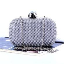 2016 New Fashion Wedding Handbags Fashion Crystal Clutches Crossbody Women Clutch Bags Evening Bag for Party Black/Gold Silver