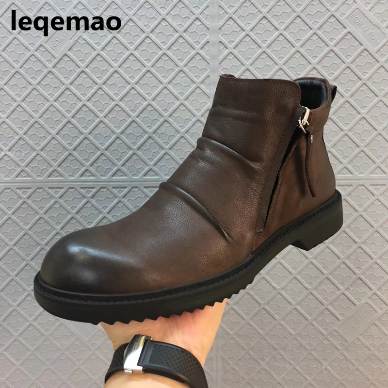 New Men Boots Arrival Basic High-Top Genuine Leather Luxury Trainers Winter Men Warm Fur Snow Boots Zip Flats Black Brown Shoes muhuisen winter men genuine leather shoes fashion casual plush warm boots lace up flats male snow boots fur inside comfort