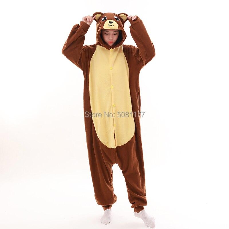 Unisex Adult Animal Onesie  Halloween Cosplay Costumes Sleepsuit Party Brown Bear Costume Pajamas