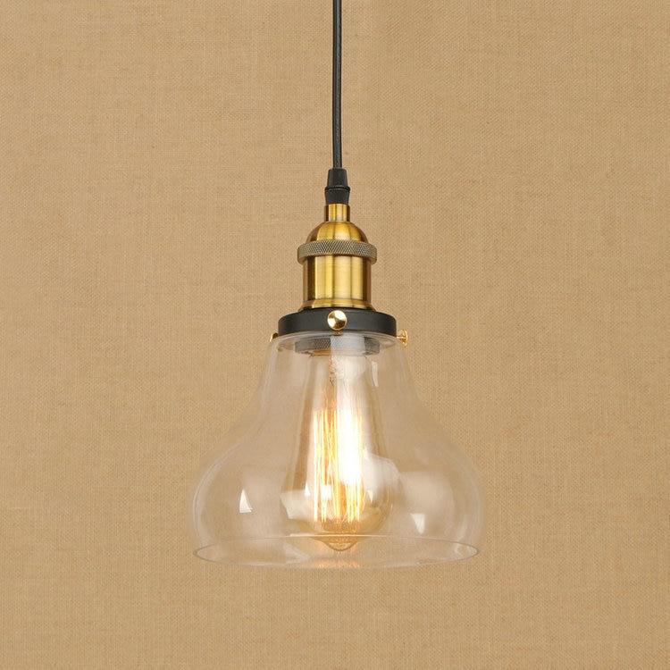 IWHD Glass LED Pendant Lamp Vintage Loft Retro Industrial Pendant Lights Bedroom Kitchen Home Lighting Fixtures Iron Lamparas
