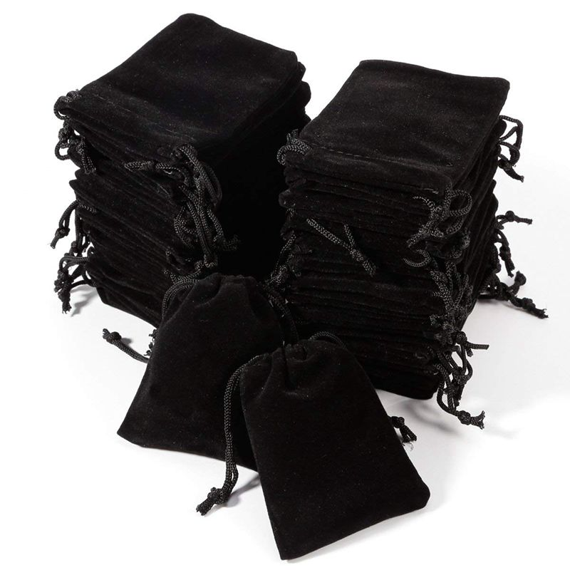 50 X Black Flocking Pouch Sliding Drawstring Bag For Jewelry 7 X 9 Cm