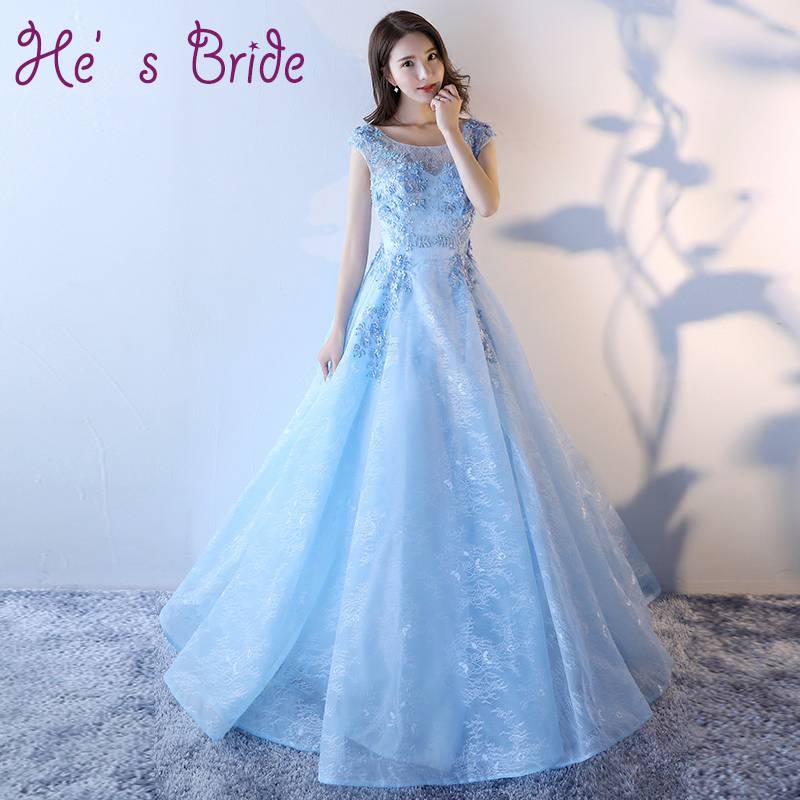 Evening Dress 2017 New Fashion Sweet Light Blue Lace Embroidery with Sequined Floor-length Banquet Elegant Long Prom Formal Gown(China)