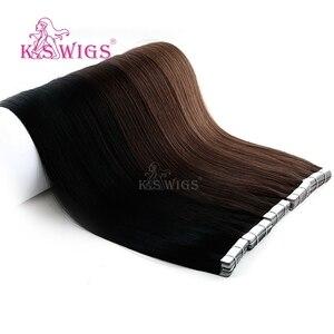 Image 3 - K.S かつらレミー人間の髪ダブル描かストレートシームレススキン横糸ヘアエクステンション 16 20 24 10 ピース/パック