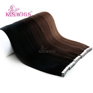 Image 3 - KS פאות רמי קלטת שיער טבעי זוגי Drawn ישר עור הערב שיער הרחבות 16 20 24 10 יח\אריזה