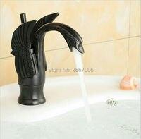 משלוח חינם חדש שחור מפל פליז מפל אגן מיקסר ברז אמבטיה עיצוב ברבור ZR322 ברזים ברזי נחושת