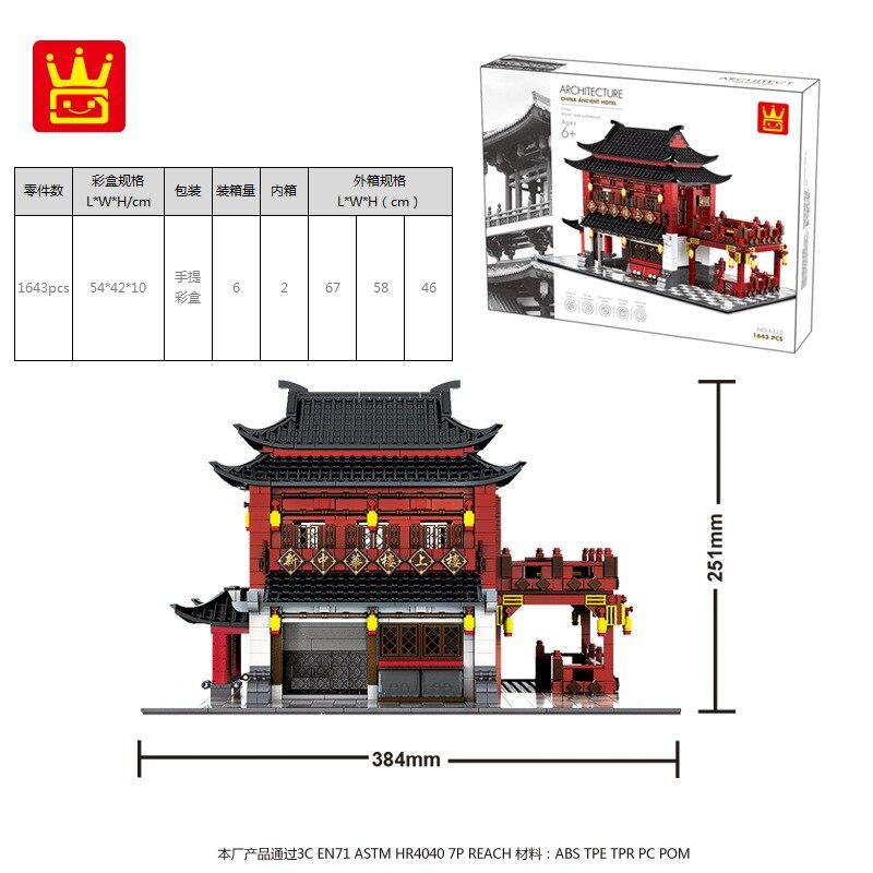 Wange Blöcke Welt Architektur Chinesischen Stil Modell China Alte Hotel Gebäude Steine Pädagogisches Spielzeug für Kinder Geschenk 6312-in Sperren aus Spielzeug und Hobbys bei  Gruppe 2