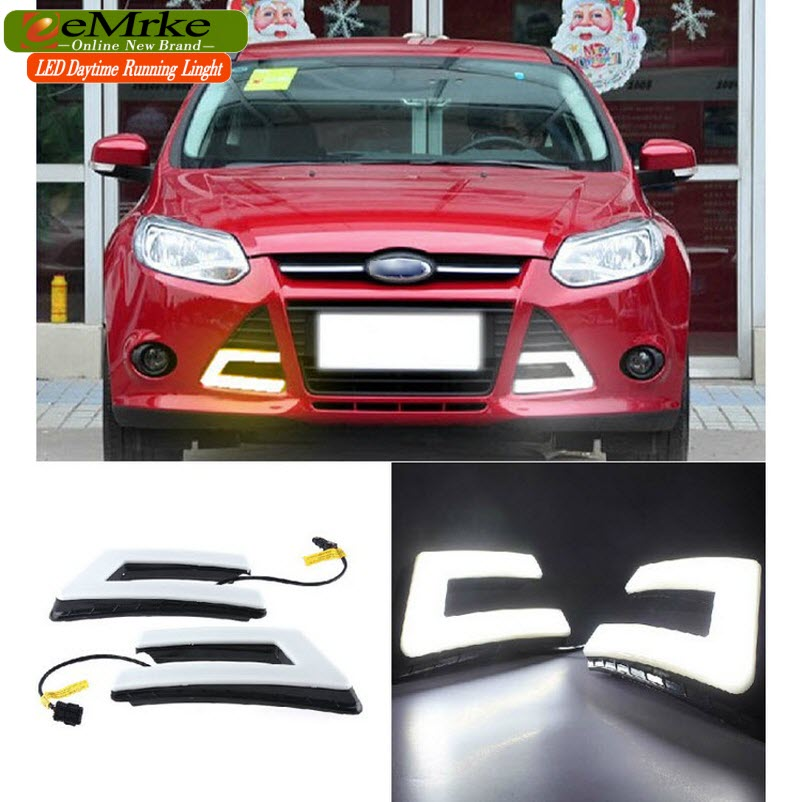 eeMrke Car LED DRL For Ford Focus Hatch / Sedan High Power Xenon White Fog Cover Daytime Running Lights Kits  недорого