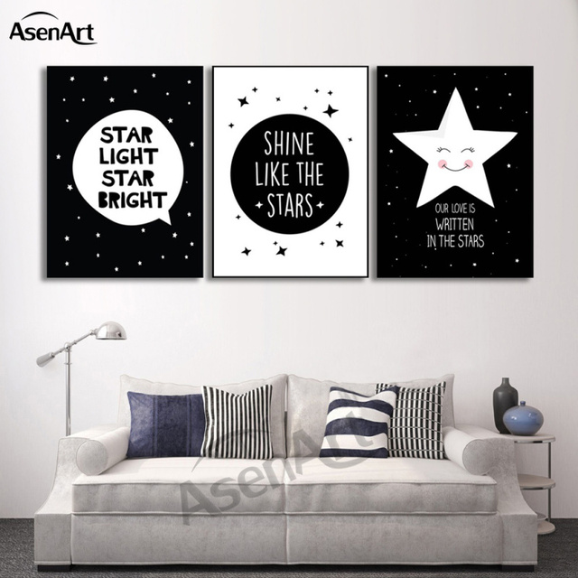 3 panels set modern minimalist nordic black white star quotes poster kawaii home decor walls