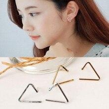 Европейские и Американские модели моды темперамент простой открытие треугольная геометрическая серьги оптовая подарок