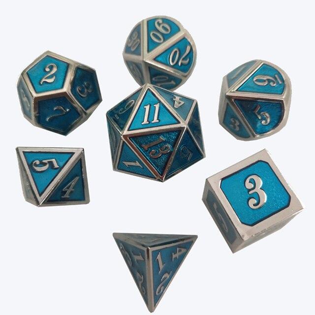Factory Outlet Nova fonte Dungeons & Dragons 7 pçs/set Criativo Dice RPG D & D Dados Do Metal Cromo do chapeamento transparente azul ename