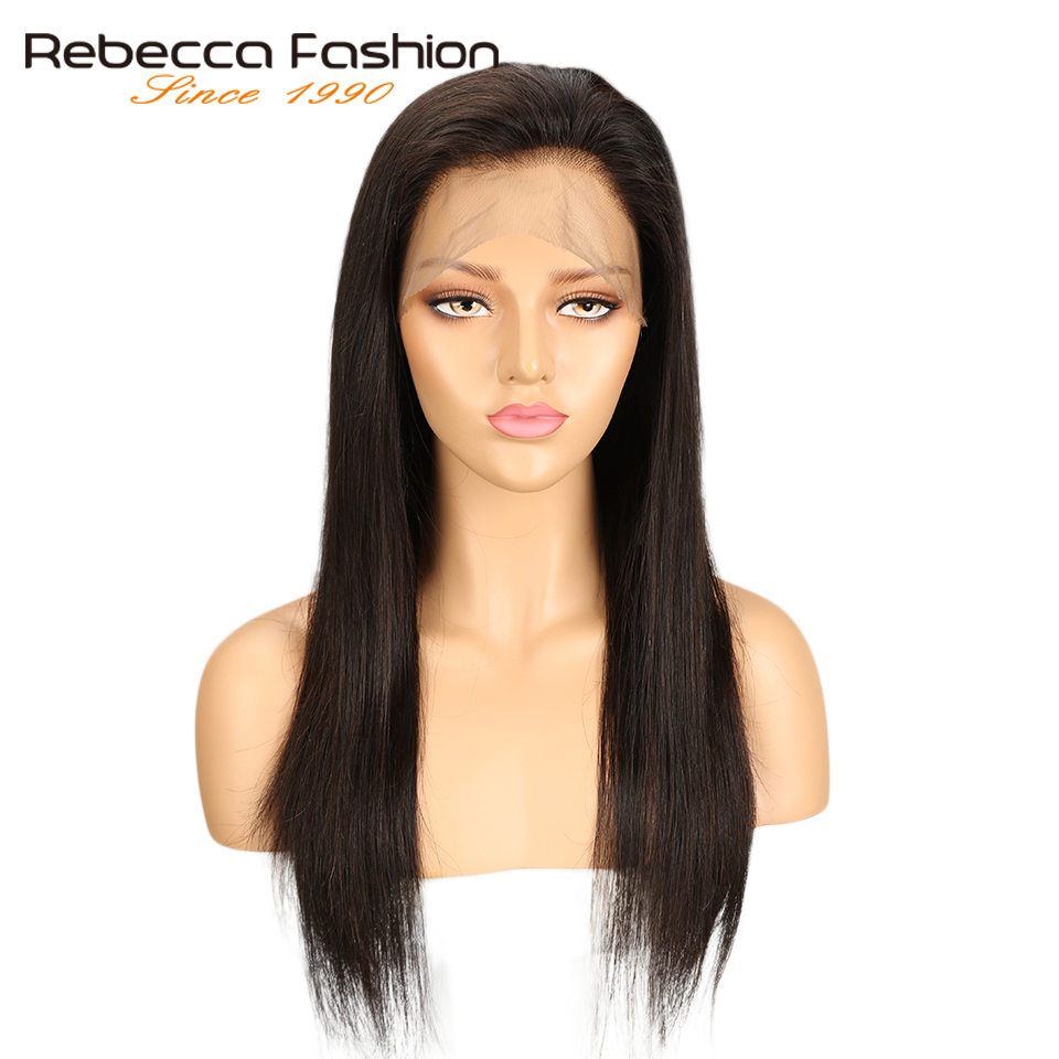 Wig Lace-Frontal Rebecca Human-Hair 360 Straight Peruvian for Black Women Natural-Color title=