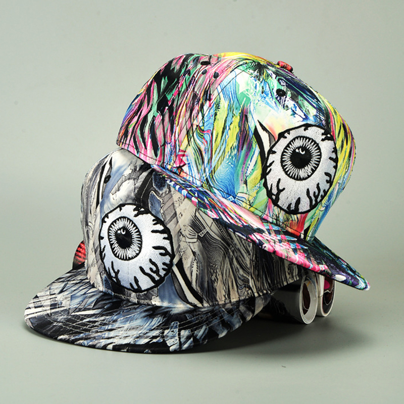 2017 Fashion colorful graffiti big eyes Hip Hop   Baseball     caps   for women Couple hats Flat Brim Vintage doodle Hippie Snapback   Cap
