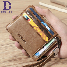 DIDE Small Thin Wallet Male Genuine Leather Slim Card Holder ID Credit Wallet Men Brand Vintage Organizer Mini Purse Women 2018 new super thin small credit card wallet women s leather key chain id card holder slim wallet female ladies mini coin purse