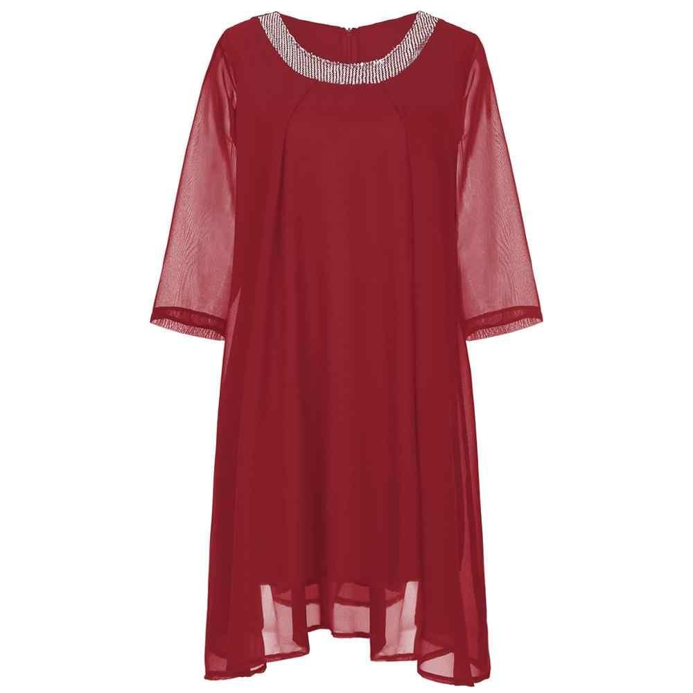 Gasa talla grande Madre de la novia vestidos 2019 A línea cuello redondo media manga vestido de fiesta de boda