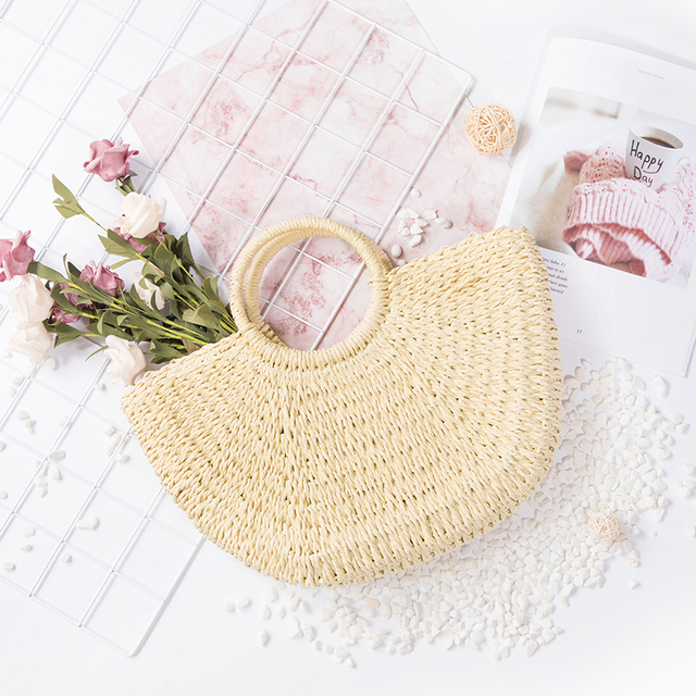 Lovevook kadın el yapımı hasır çanta moda alışveriş çantası için yaz plaj kamış örgü çanta lüks tasarımcı 2019 yeni yüksek kaliteli bambu