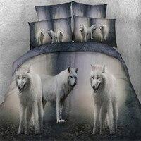 Gratis verzending 3d dier wolf 5 stks beddengoed met vulling dekbed set twin/full/queen/koning/super kingsize thuis textiel
