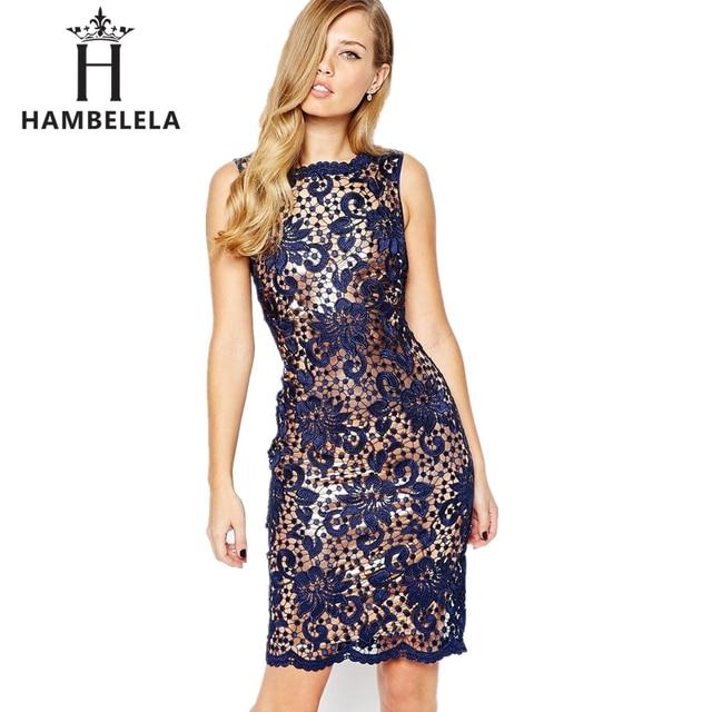 dcd764438 HAMBELELA 2 Peça Set Mulheres Vestido de Renda Com Forro 2017 elegante  Rendas de Croché Bodycon