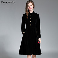 Elegant Black Velvet Dress Winter Dresses Women 2016 Vestido Vintage Long Sleeve Ladies Dresses Tunique Femme