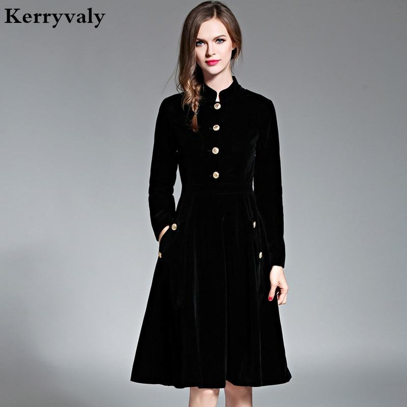 Veshjet elegante me kadife te zeze Veshje dimërore për femra 2019 Vestido Vintage me mëngë te gjata Zonja me mëngë te gjata Tunic Femra Dames Jurken 72990